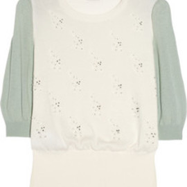 miu miu - 【円高還元】▼miu miu▼Cat motif beaded fine-knit cotton sweater 1