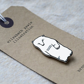 ElizabethPawle - winter bear brooch - by elizabeth pawle - modern design - hand drawn hand cut illustration pin badge