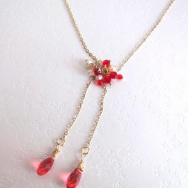 Luulla - Dancing Red Fairies Necklace-Fresh Water Pearls, Swarovski Briolettes, 14K Gold Plated Chain
