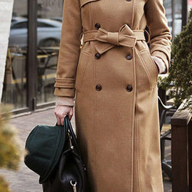 coat - Image of [grzxy6600583]Stylish Classy Pure Color Double Breast Long Worsted Coat