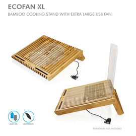 Macally - ECO FAN XL - BAMBOO COOLING STAND WITH EXTRA LARGE USB FAN