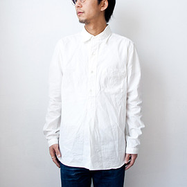 Manual Alphabet - Manual Alphabet / Change collar chambray pullover shirts : white