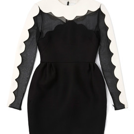 VALENTINO - Long Sleeved Scallop Edge Tulip Dress With Cross Scallop Detail
