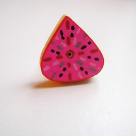 Luulla - Pink Drop Recycled hand painted wooden ring