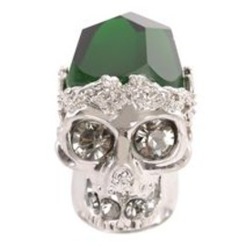 Alexander McQueen - Silver Emerald Stone Skull Cocktail Ring