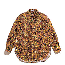 ENGINEERED GARMENTS - Rounded Collar Shirt-Leopard Print-Brown