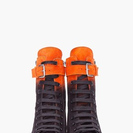 Ann Demeulemeester - , ORANGE OMBRE SUEDE SNEAKERS