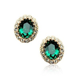 [grxjy530079]Green crystal diamond earrings