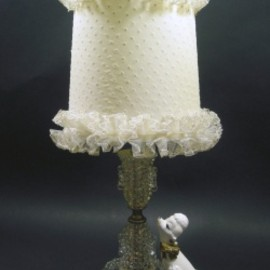 """Frilly Dot Shade"" Hobnail Glass Lamp"