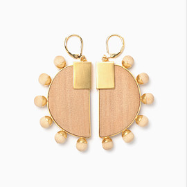 mame kurogouchi - Half-Moon Wood Pierced Earrings - beige