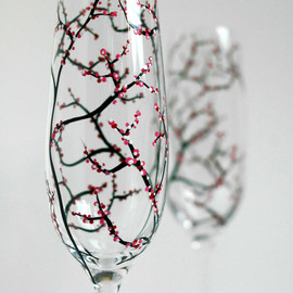 MaryElizabethArts - Personalized Tree Branch Wedding Toasting Flutes - Customized Champagne Flutes