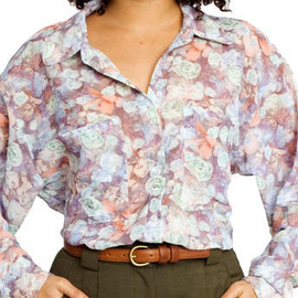 American Apparel - Floral Chiffon Oversized Button-Up