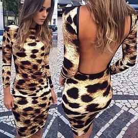 Sexy Backless Leopard Print Long Sleeve Pencil Dress