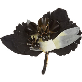 MARNI - Cotton-twill, crystal and horn brooch