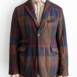 Engineered Garments - B2B Jacket - Brown/Navy Wool Twill Plaid