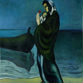 Pablo Picasso - Maternity by the Sea(1902)