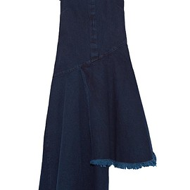 Marques' Almeida - Asymmetric frayed denim midi dress