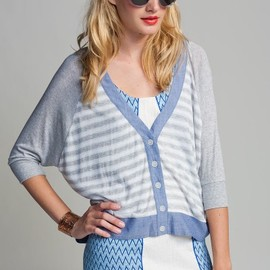 Love Zooey - Love Zooey Chambray and Gray White Striped Dolman Sleeve Cardigan