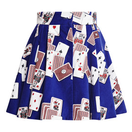 OLYMPIA LE-TAN - Blue Dynamo Playing Cards Velvet Mini Skirt