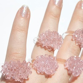 ArlieGlass - Glass Cluster Ring  Baby Pink