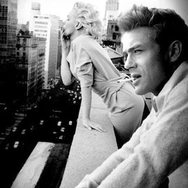 Monroe and Dean smoking in NYC