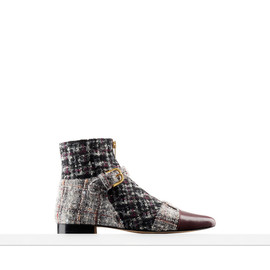 CHANEL - CALFSKIN AND TWEED SHORT BOOTS