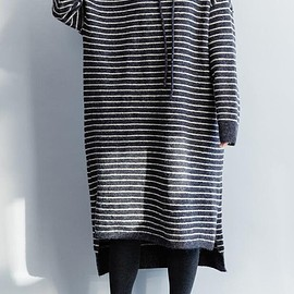 Knitted striped dress - Loose sweater dress, Knitted striped dress, cotton hooded long dress, winter bottoming dress