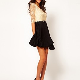 asos - Image 4 of Paprika Metallic Lace Belted Skater Dress