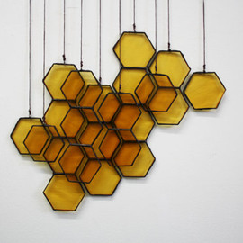BespokeGlassTile - Stained Glass Honeycomb Drops (set of 10)