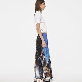 "PLAN C - PLEATED ""ENGADINA"" PRINT LONG SKIRT"