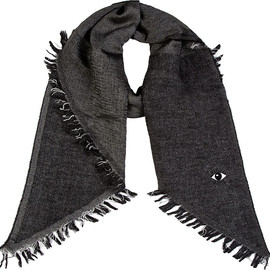 KENZO - Charcoal Herringbone Fringed Eye Mohair Scarf