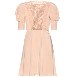 miu miu - LACE-TRIMMED CREPE DE CHINE DRESS