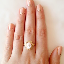 a nude and gold dot manicure tutorial