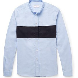 AMI - Slim-Fit Button-Down Collar Contrast-Panelled Cotton Oxford Shirt