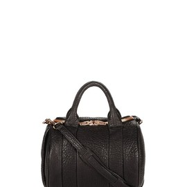 ALEXANDER WANG - ROCKIE IN PEBBLED BLACK WITH ROSE GOLD