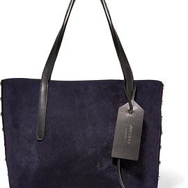 Jimmy Choo - Sara medium studded suede and textured-leather tote