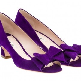 miu miu - Suede open-toe pump in PURPLE