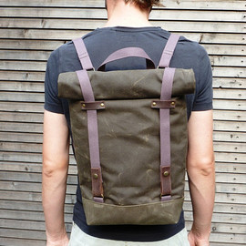 Waxed canvas rucksack/backpack with roll up top and double waxed bottem UNISEX