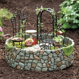 Plow & Hearth - Resin And Metal Fairy Garden Accent With 11 Accessories