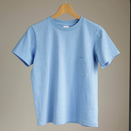 YAECA - 丸胴 Crew Neck Pocket Tee #blue