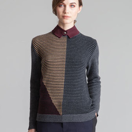 Marni - Single Snap Collar, Back-Buttoned Striped Sweater