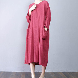 dress - Cotton and linen  Loose Fitting Long dress Women maxi dress Wine red dress blue dress
