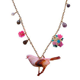 Razu-Boutique - Vintage Charm Necklace Pink Bird