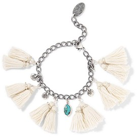 Chan Luu - Tasseled silver and turquoise bracelet