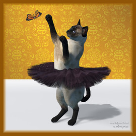 Asian Design Blue Siamese Ballet Cat On Paw-te