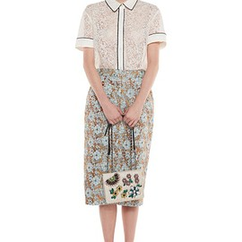 Essential - FLORAL-JACQUARD PENCIL SKIRT NESSTING SKIRT