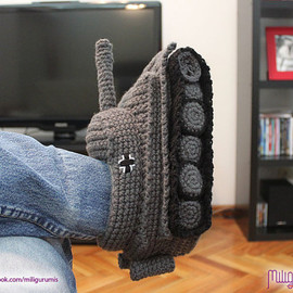 Tiger 1 Tank -  Panzer Crocheted Slippers