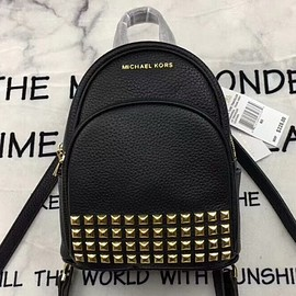 MICHAEL KORS - MICHAEL Michael Kors Abbey Extra-Small Studded Leather Backpack Black