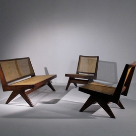 Pierre Jeanneret - Sofa and chairs, Chanigarh, ca 1955
