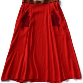 TOGA PULLA - Embroidery Georgette Skirt (red)